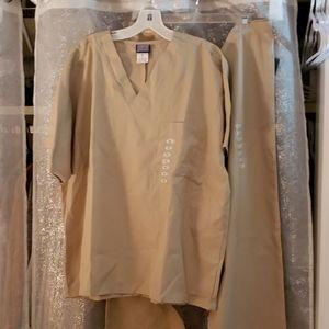 Authentic Cherokee workwear tan scrubs set